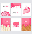 sweet life creative trendy swet collection cards vector image vector image
