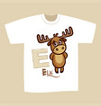 t-shirt print design letter e elk vector image vector image