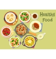 Tasty meals for dinner icon for recipe design vector image vector image