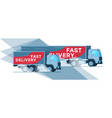 two grey warehouse fast delivery company truck vector image