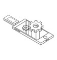 usb data storage technology isometric in black and vector image vector image