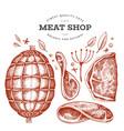 vintage meat hand drawn ham ham slices spices vector image