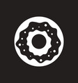 White icon on black background donut with