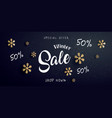 winter sale banner with text and snowflake vector image