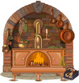 wood stove vector image