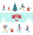 2019 winter - banner with vector image vector image
