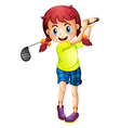 A cute little girl playing golf vector image vector image