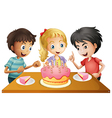 A table with cake surrounded by three kids vector image vector image
