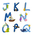alphabet nautical from j to q vector image vector image