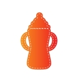 Baby bottle sign Orange applique isolated vector image vector image