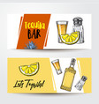 banners with tequila bottle shot lemon salt vector image vector image