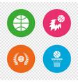 basketball icons ball with basket and fireball