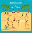 beach activities infographics vector image vector image