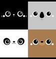 bear cat koala panda square face head icon set vector image vector image