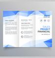 blue triangle shape trifold brochure design vector image vector image
