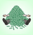 businessman hit the jackpot and he fell asleep vector image vector image