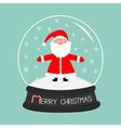Cartoon Santa Claus Crystal ball with snowflakes vector image