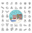christmas holiday line icons city street in winter vector image