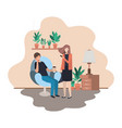 couple using smartphone in livingroom vector image vector image