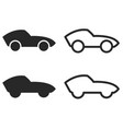 cute cartoon sports car silhouettes and outlines vector image vector image