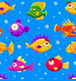 cute colorful tropical fishes seamless pattern vector image