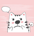 cute sketch cat with in a cloud vector image vector image