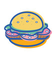 Delicious hamburger fast food icon vector image