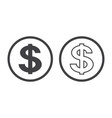 dollar symbol isolated on white background vector image vector image