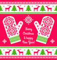 embroidered mittens background vector image
