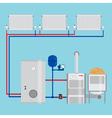 Energy-saving heating system Pellet boiler heating vector image vector image