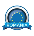 EU flag button with Romania ribbon vector image vector image