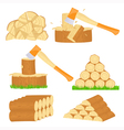 Firewood chop icons vector image vector image