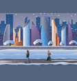 futuristic city in the snow people go down the vector image vector image