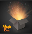 Grey Magic Box with Confetti and Magic Light vector image