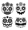 halloween and dia de los muertos skulls design vector image
