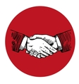 Handshake engraving in red circle vector image