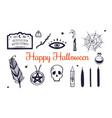 happy halloween hand drawn set witchcraft vector image vector image