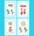 happy holidays santa claus christmas posters vector image vector image