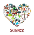 Heart shape emblem with science icons vector image vector image