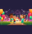 kids in amusement park with circus ferris wheel vector image