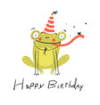 little amusing frog happy birthday congratulation vector image