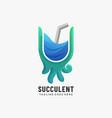 logo succulent gradient colorful style vector image