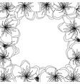 peach cherry blossom outline border on black vector image vector image