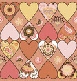 seamless floral patchwork pattern with hearts vector image vector image