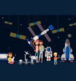 selfie at space station group people vector image vector image