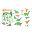 set dinosaurs ancient plants volcanoes the vector image