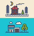 Set of Flat Style Line Art for Countryside Houses vector image vector image