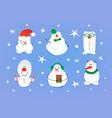 set of six cute snowmen vector image vector image