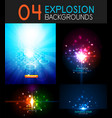 shiny light effect explosion background vector image