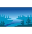 Silhouette of river and spruce vector image